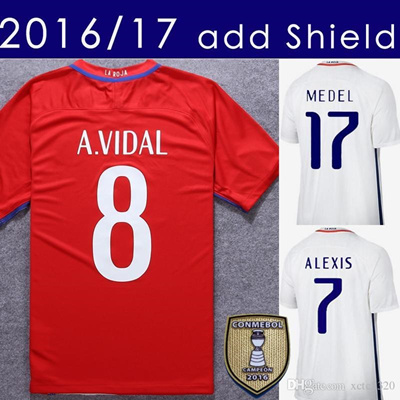 1a580ace129 ... best price qoo10 2017 chile soccer jersey 2016 17 alexis vidal home red  away white foot