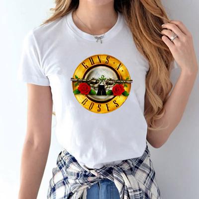 2017 fashion guns n roses printed t shirt women hip hop tops tees summer  punk rock cotton tshirt har