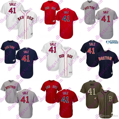 new styles 49f4c 012ee 2017 flexbase new men Boston Red Sox Jerseys 41 Chris Sale Jersey Red Grey  White Blue Cool Base Embr