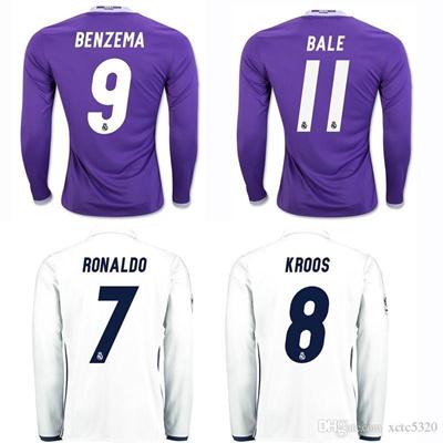 premium selection 992cc 081da 2017 Long Sleeve Soccer Jersey 2016/17 Real Madrid Football Jerseys Home  White Away Purple Football