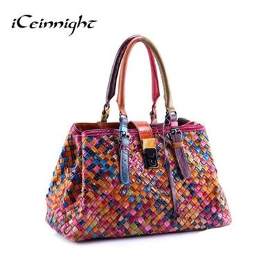 c26bdf9b5384 Qoo10 - 2017 New Fashion Genuine Leather Bags Weave Handbags Womens  Shoulder B...   Bag   Wallet