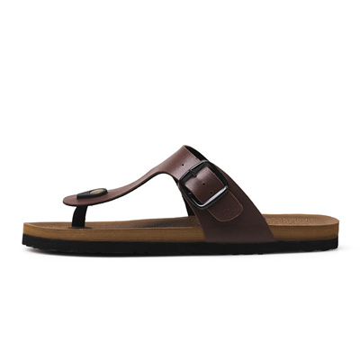 e88854e0de15 2017 PU Leather Sandals Men Black Brown Flip Flops Casual Flat Sandals  Summer Beach Slipper Men