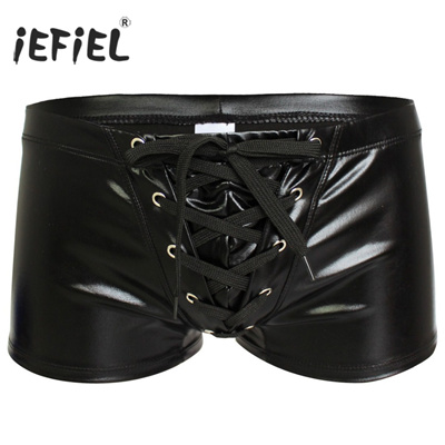 b9dd1d1d0c Qoo10 - 2017 Sexy Men Patent Leather Gay Pants Latex Men s Swimwear Boxers  Sho... : Underwear & Sock.