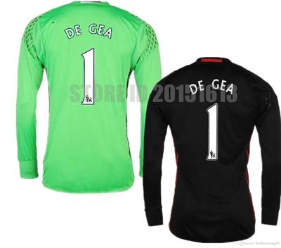 new concept cf42b 3ae51 2017 Thailand Long Sleeve Black Manchester Goalkeeper Soccer Jerseys 1  David De Gea Romero Green Goa