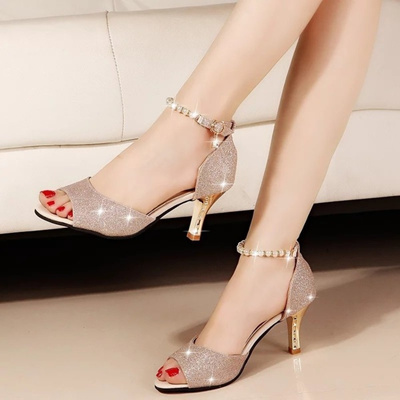 2018 New Fashion Sexy Women Silver Rhinestone Wedding Shoes Platform Pumps  Black Bottom High Heels C 59a4cac727c3