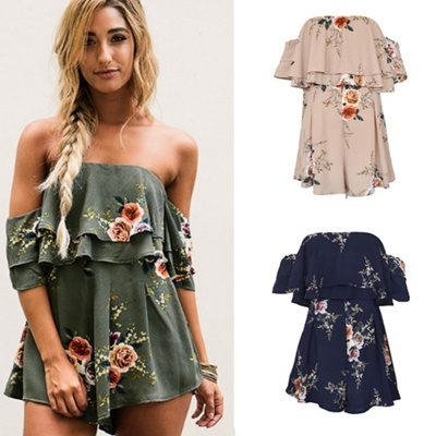 a5eab37c67f Qoo10 - 2018 new Women Floral Print Jumpsuits Off Shoulder Backless Onesie  Plu...   Women s Clothing