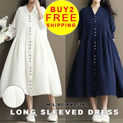 b924e4f1a530e 2018 spring new womens Korean literary vintage cotton long sleeves