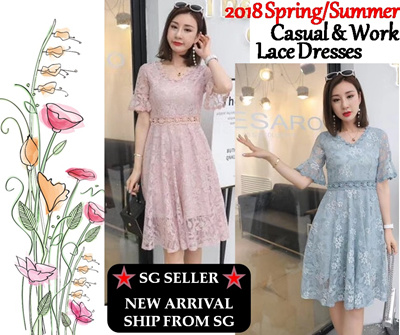 87c6ccbd5 2018 Spring/Summer Korean Fashion Lace Work Office / Casual Dresses