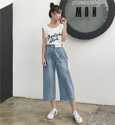 d231429492aa Qoo10 - 2018 summer high waist wide leg jeans Nine female Korean style  student...   Women s Clothing