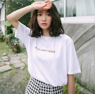 59a022856ae3 Qoo10 - 2018 Summer new Korean style college Wind simple letter printing  show ...   Women s Clothing