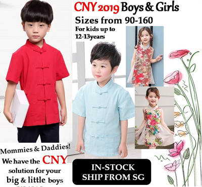 94074fe3 2019 CNY Ladies n Kids Boy Girl Size 90-165 Chinese New Year Clothes Shirt