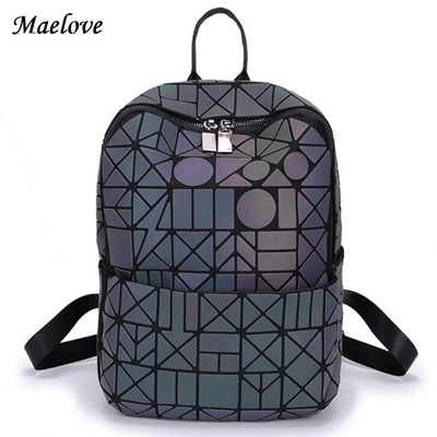 6aed43fe2286 2019 New Fashion Luminous backpack women geometry lattic Noctilucent Bag  for Student backpack