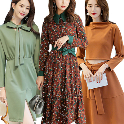 f6c36ccc3a 2019 New Korean Ladies Fashion Dress Plus Size Collection /Dress /Midi  Skirts C01