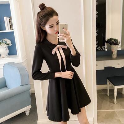 36613701359 2019 spring new korean style bow doll collar high waist thin hepburn small  black skirt long