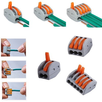 2//3//5 Way Reusable Spring Lever Terminal Block Electric Cable Wire Connector Lot