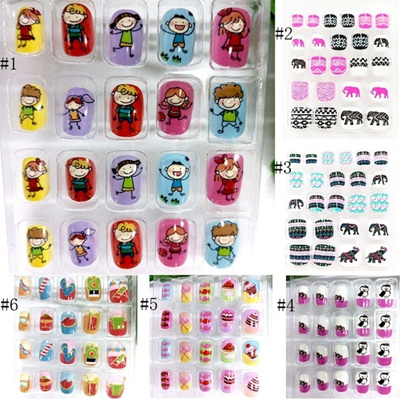 20pcs My Good Friends Cute Kid Cartoon Press On Nails Full Cover Artificial  Finger Nails for Kids Children Girls