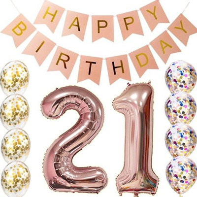 21st Birthday Decorations Party Supplies-21st Birthday Balloons Rose  Gold,21st Birthday Banner,Table