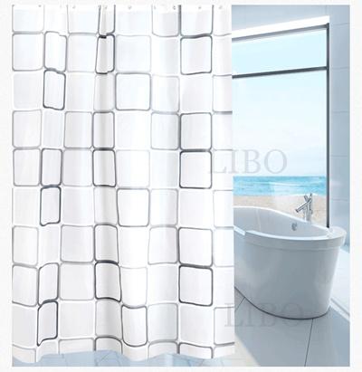 240180 Bathroom Bath Shower Curtain Big Square PEVA Waterproof Fabric 12 Hooks