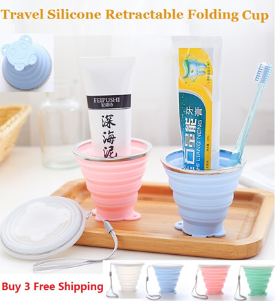 250ML Travel Cup Stainless Steel Silicone Retractable Folding Cups/  Telescopic Outdoor Water Cup