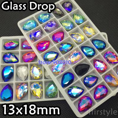 6141293c47 28pcs 13x18mm Glass Crystal Teardrop Fancy Stone Pointed Back Crystals  Aquamarine,Topaz,Citrine AB C