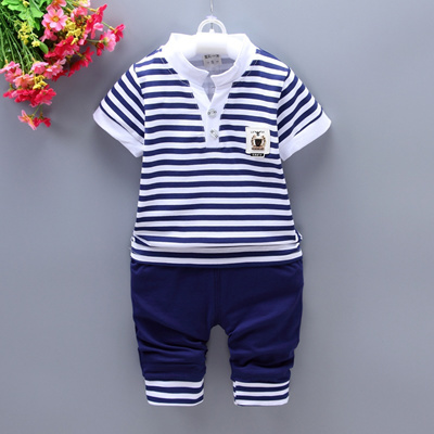 11d0f634d3d5 Qoo10 - 2PC Kids Toddler Boys Clothes Outfit Youth Child Boy Clothing  Striped ...   Baby   Maternity