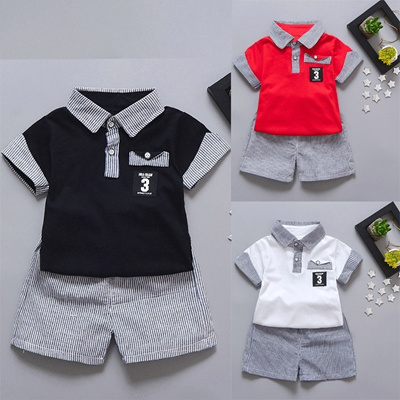 751e091d4d78 Qoo10 - 2PC Toddler Kids Baby Boy Letter Printed T shirt Tops+Striped  Shorts O...   Baby   Maternity