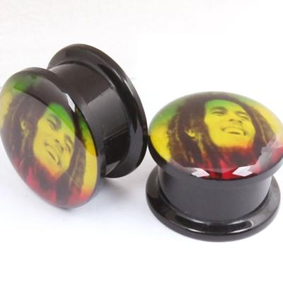 2pcs Bob Marley Rainbow Logo Flesh Plug And Tunnels For Body Piercing Punk Earring Ear Gauges Tunne