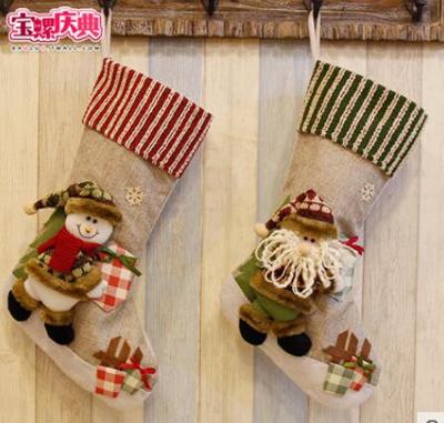 2pcs Candy Bag Christmas Socks Hanging Gift Bag Christmas Tree Pendant Elderly Elk Socks Christmas