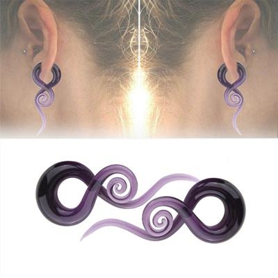 2PCS Fashion Purple Pyrex Glass Ear Plugs Ear Gauges Spiral Tapers Flesh  Tunnel Expander Stretchers