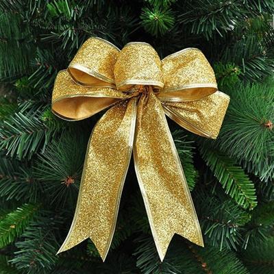 Qoo10 - 2pcs Large Red Silver Gold Christmas Ribbon Bow Christmas Tree Decorat... : Computer & Game