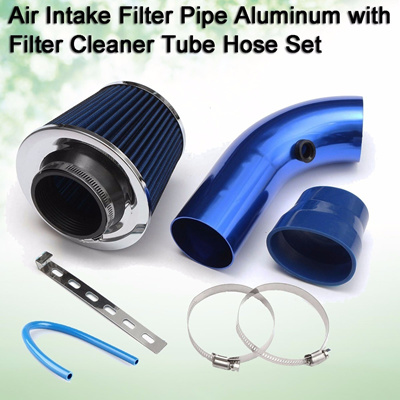 3 Car Cold Air Intake Filter Pipe Aluminum Kit w/Filter Cleaner Tube Hose  Blue