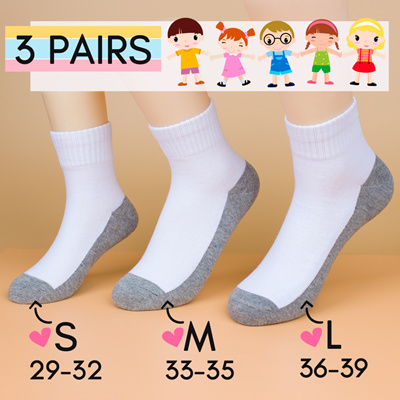 aktuelles Styling ganz nett modische Muster 📕 3 Pairs 📕 School Standard White with Grey Base Socks in 3 Sizes S / M /  L SG Free Ship with $10