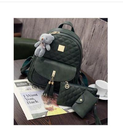 3 Pcs Bear Backpack Women Bag Diamond Lattice School Bags For Girls  Backpacks For Women c7a8bf45c30e4
