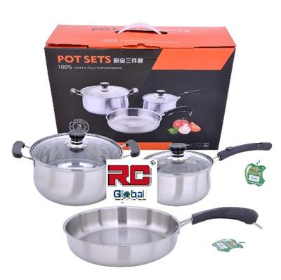 Qoo10 3 piece stainless steel pot set kitchen ware set for Kitchen set non stick