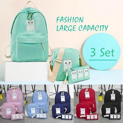 Qoo10 - 3 Set PC Women Cute Cat Printing Canvas Backpack School Bags for  Teen...   Perfume   Luxury. bc156654f34cb