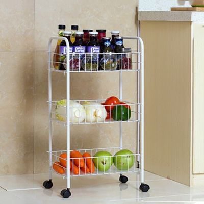 3 Tier Kitchen Shelf Storage Basket Rack Storage Organizer 35cm With Wheels
