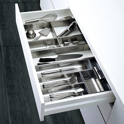 304 Stainless Steel Cutlery Tray Tableware Box Storage Clapboard Kitchen Basket Drawer Stora