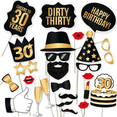 30th 40th Birthday Party Photo Booth Props Kit Suitable For Unisex Celebration DIY Bo