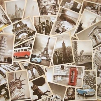 32Pcs Vintage Retro Old Travel World Cities Postcards Travel Gift Greeting  Cards