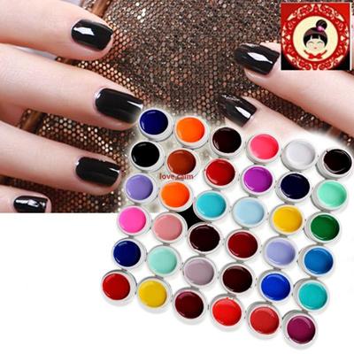 36 Pots Pure Colors UV Gel Nail Art Tips Shiny Cover Extension Manicure Decor