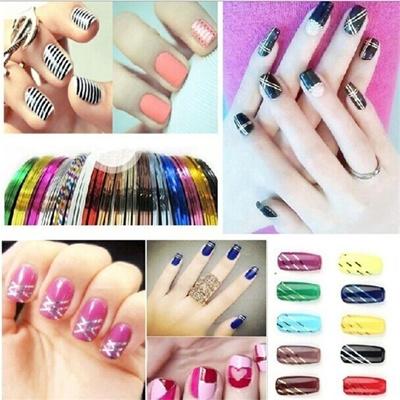 Qoo10 38pcsset Mixed Colors Rolls Striping Tape Line Nail Art