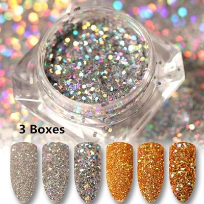 Qoo10 3boxes Fashion Shinning Goldsilver Diy Manicure Nail Art