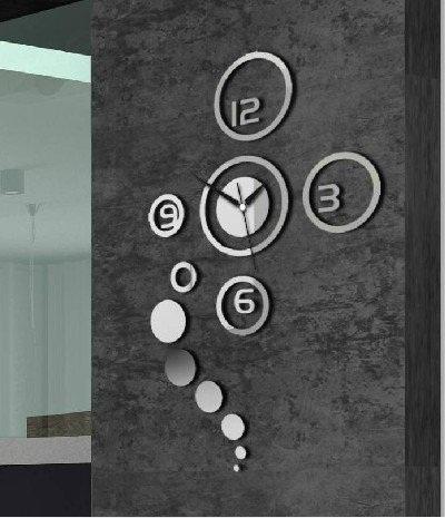qoo10 - 3d acrylic mirror wall sticker clock decoration decor