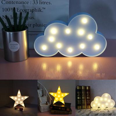 Cute Star Moon Led Night Light Wall Lamp Baby Kids Bedroom Home Decor 2