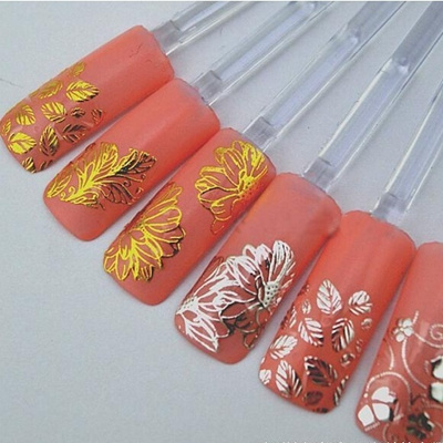Qoo10 3d Silvergold Nail Art Stickers Decals Hot Stamping