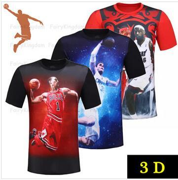 half off bad62 3d9b5 3d t shirt stars LeBron James/Duncan/Anthony/ Bryant/USA all-star  basketball sports game grapgic