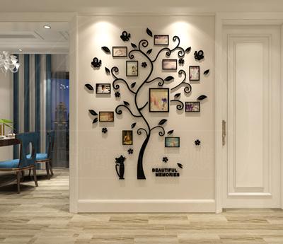 Charming 3D Three Dimensional Crystal Acrylic Wall Stickers Bedroom Living Room Sofa  Warm Photo Tree Stickers