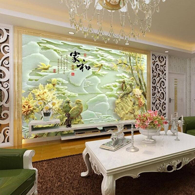 3d Tv Wall Paper Room Hall Sofa Background Wall Decoration Wallpaper Jade Carvings Large 5d Murals