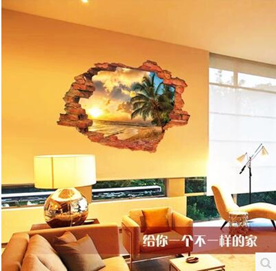 3D Wall Stickers Stickers Sunset Seascape Decoration Bedroom Living Room  Dormitory Room Wallpaper Self Adhesive Part 98