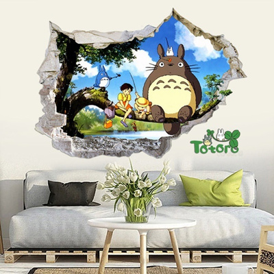3d windows generic totoro hayao play catch branch decal wall sticker decor nurse color